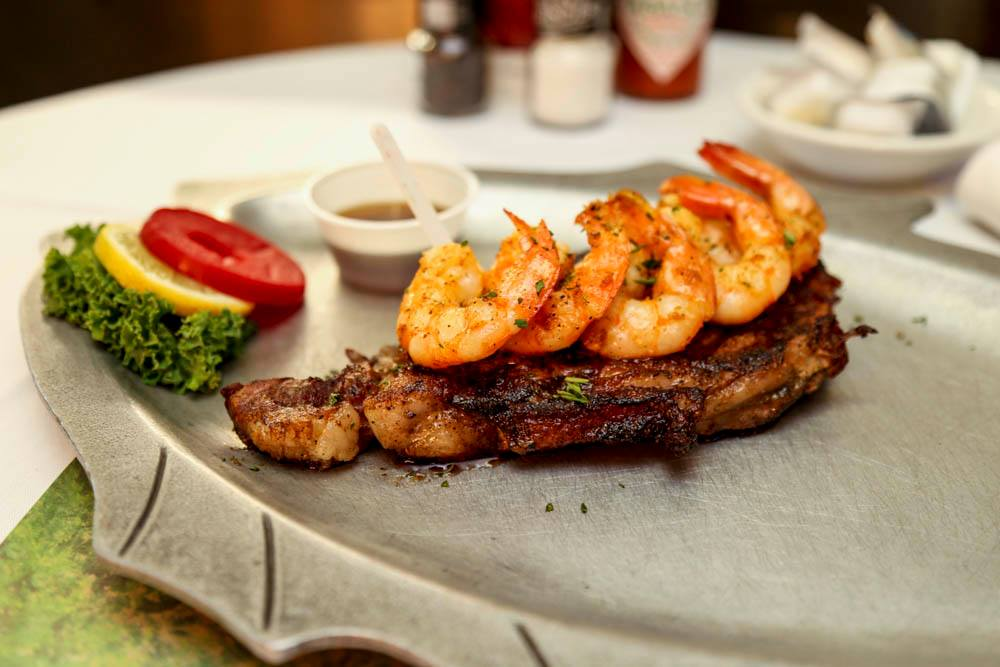 Saturday steak and shrimp with 1 side $21.95