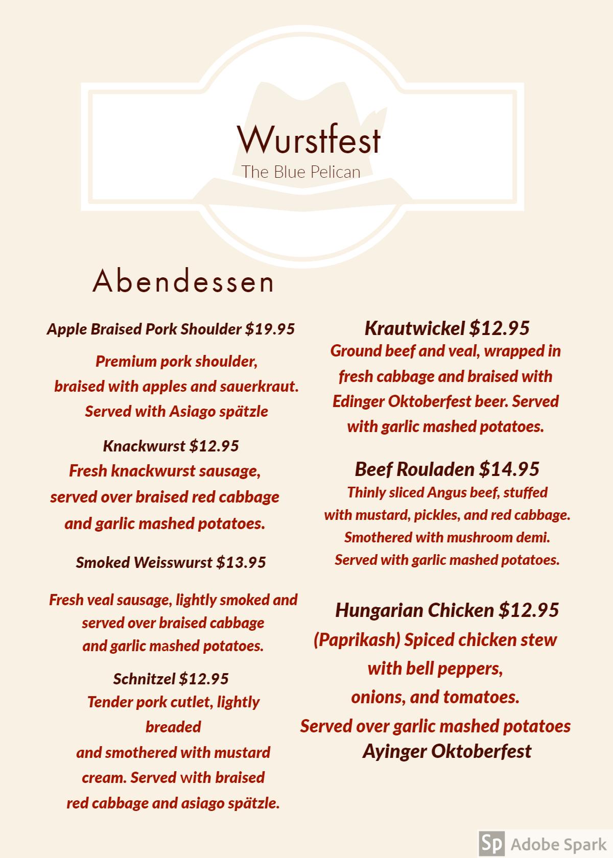 Wurstfest   October 19 5-9