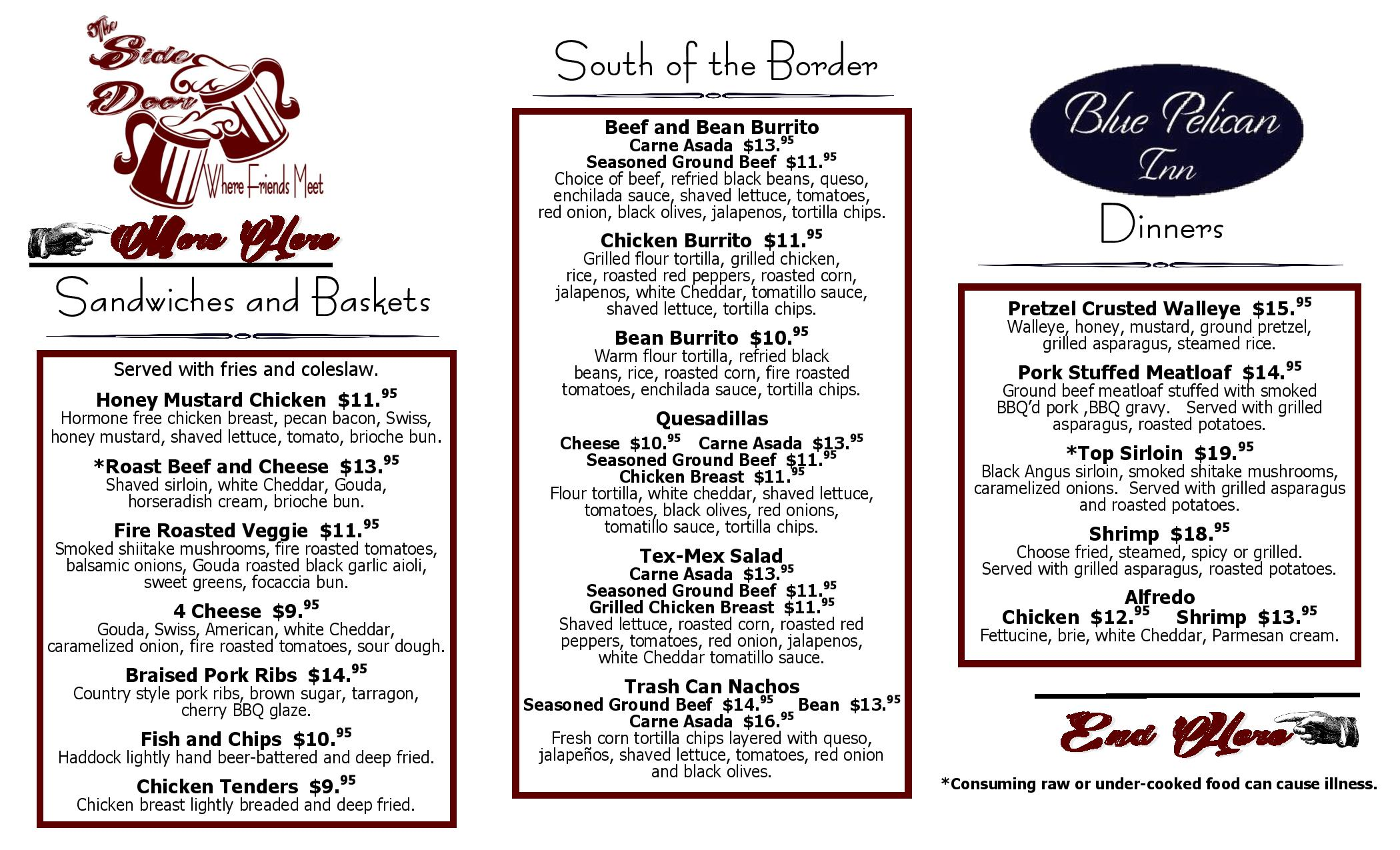 New menu Available at the Pelican and the Side Door